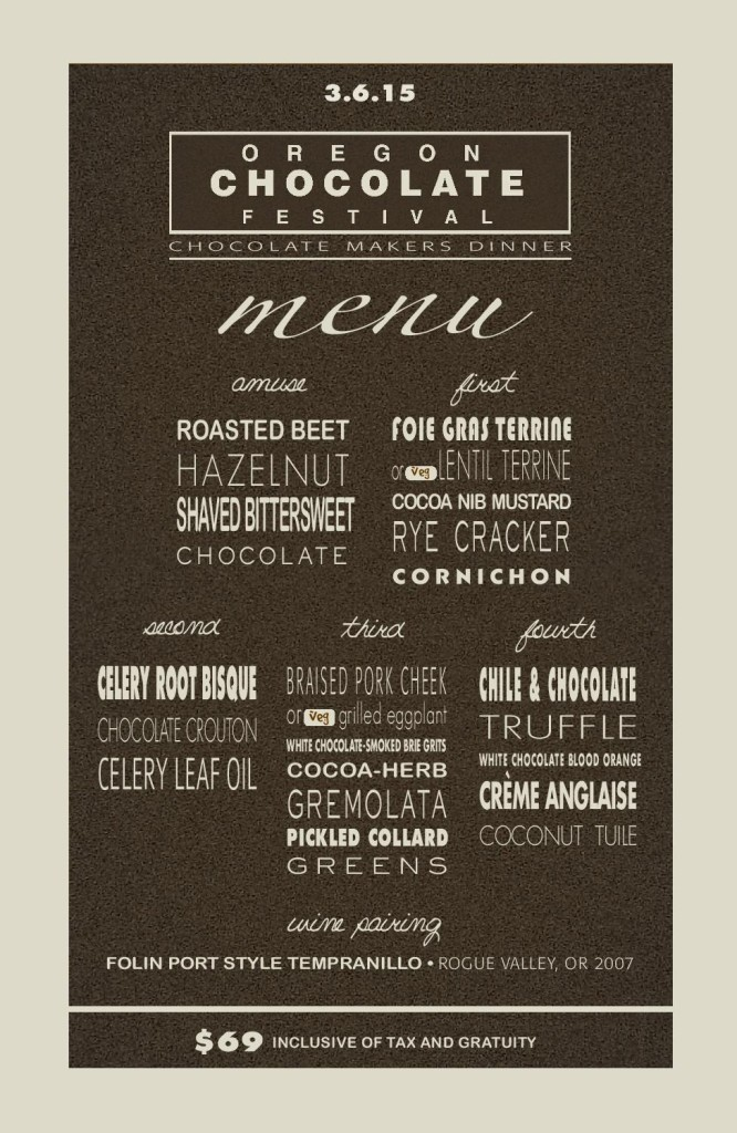 Chocolate Makers Dinner Menu
