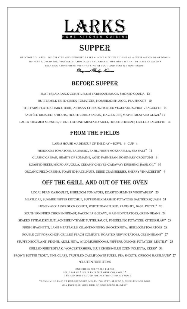Summer Supper menu-july 2014