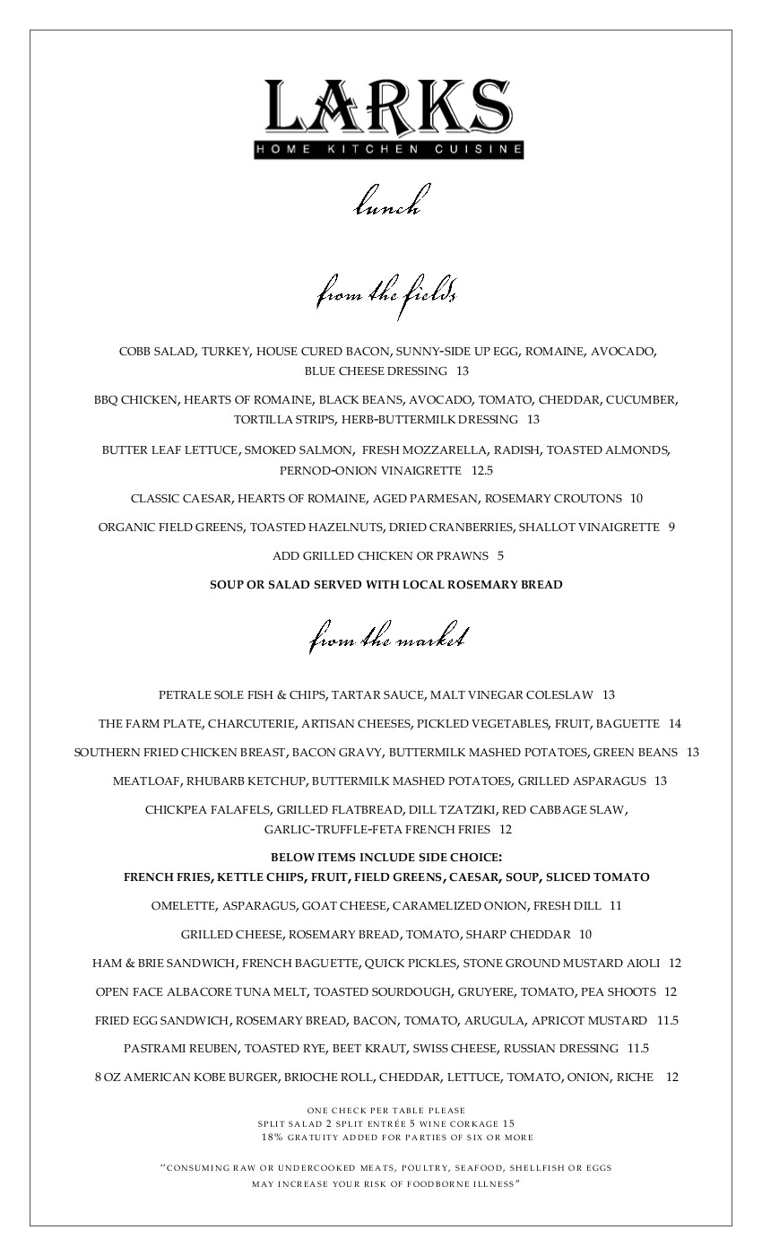 Lunch menu april 21 Larks Ashland