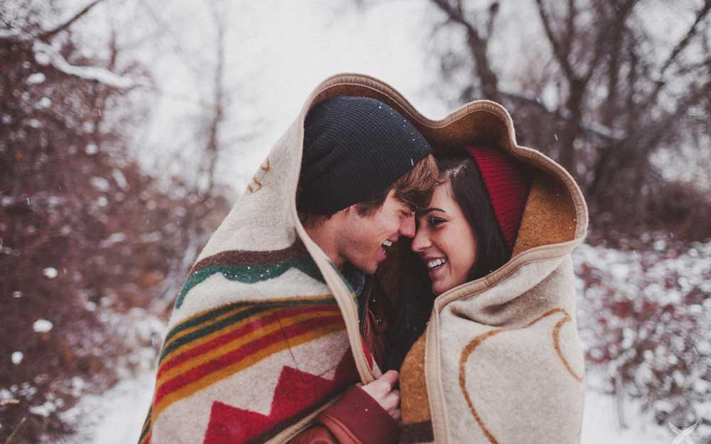 Romentic Couple Romance In Winter